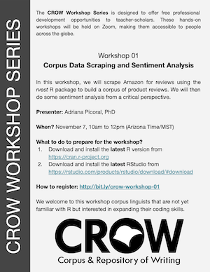 Flyer for Crow workshop Nov 10, 2020