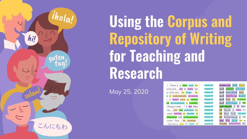 "Slide from our presentation, reading ""Using the Corpus and Repository of Writing for Teaching and Research."" Two images: concordance lines showing a query for ""research,"" and a cartoon of people of diverse ages, genders, and races saying ""Hello"" in multiple languages."
